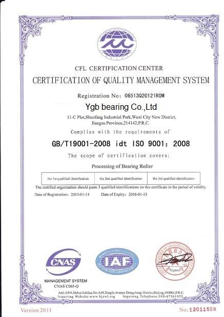 Porcellana YGB Bearing Co.,Ltd Certificazioni